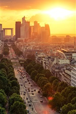 Preview iPhone wallpaper France, Paris, road, city, houses, buildings, sunrise