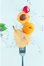 Preview iPhone wallpaper Fresh fruit, water, cherry, pear, peach, plum, fork