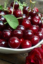 Fresh red cherries, red rose, water drops