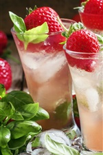 Fresh strawberry, glass cups, mint, iced drinks