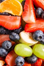 Preview iPhone wallpaper Fruit salad, strawberry, grape, banana, blueberry