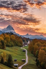 Preview iPhone wallpaper Germany, Bayern, road, trees, mountains, houses, autumn