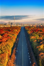 Preview iPhone wallpaper Germany, Berlin, TV tower, road, trees, city, autumn