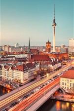 Germany, city, night, bridge, cars, road, houses, lights, river