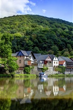 Preview iPhone wallpaper Germany, river, village, mountains, greens