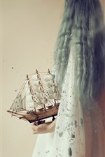 Preview iPhone wallpaper Girl and boat model, creative