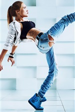 Preview iPhone wallpaper Girl dance, pose, legs, jeans