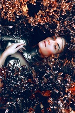 Preview iPhone wallpaper Girl lying on flowers ground, armor, Kindra Nikole