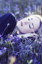 Preview iPhone wallpaper Girl sleep in the flowers