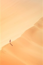 Preview iPhone wallpaper Girl walking in the desert