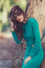 Preview iPhone wallpaper Green dress girl, trees