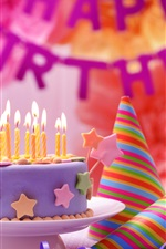 Happy Birthday, cake, colorful decoration, candles, flame