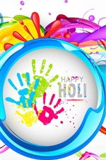 Preview iPhone wallpaper Happy Holi, colorful painting, Indian festival