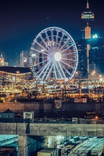 Preview iPhone wallpaper Hong Kong, Ferris wheel, city night, lights