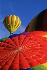 Hot air balloon, top view, colorful