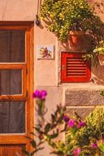 Preview iPhone wallpaper House, door, flowers