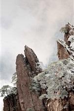 미리보기 iPhone 배경 화면 황산, 중국, 산, 안개, 겨울, 새벽