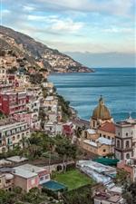 Italy, Campania, Positano, Amalfi Coast, bay, city, mountain, sea