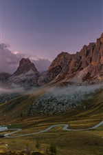 Preview iPhone wallpaper Italy, Dolomites, mountains, road, houses, fog, clouds, morning