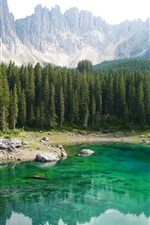 Preview iPhone wallpaper Italy, South Tyrol, Dolomites, forest, trees, mountains, lake