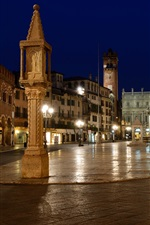 Preview iPhone wallpaper Italy, Verona, city, street, cafe, night, lights, houses