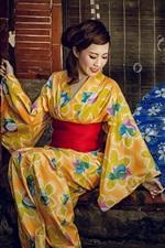 Preview iPhone wallpaper Japanese girl, kimono, bubbles, umbrella