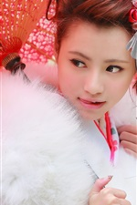 Preview iPhone wallpaper Japanese girl, red umbrella, fur clothing