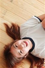 Preview iPhone wallpaper Joy girl, wood floor
