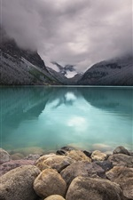 Preview iPhone wallpaper Lake Louise, Banff National Park, Canada, stones, mountains, clouds