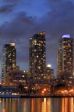Lake Ontario, Toronto, Canada, city night, skyscrapers, lights