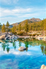 Preview iPhone wallpaper Lake Tahoe, water reflection, mountains, trees, stones, USA