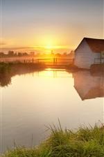 Preview iPhone wallpaper Lake, hut, grass, fog, morning, sunrise, farm