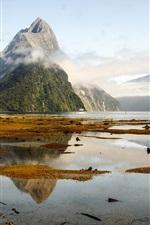 Preview iPhone wallpaper Lake, mountains, fog, ship