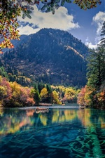 Preview iPhone wallpaper Lake, trees, mountains, autumn, beautiful nature