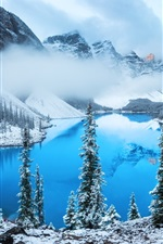 Preview iPhone wallpaper Lake, trees, snow, winter, fog, clouds, mountain