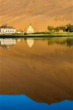 Preview iPhone wallpaper Lake, water, reflection, trees, houses, desert, China