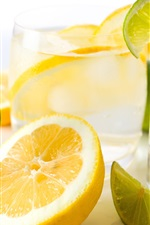 Preview iPhone wallpaper Lemon drinks, lime, glass cups