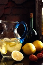 Lemons, litchi, lemon drinks, still life