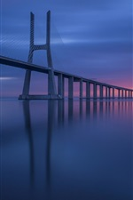 Preview iPhone wallpaper Lisbon, Portugal, sea, bridge, sunset