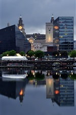 Preview iPhone wallpaper Liverpool, city, river, boats, pier, houses, dusk, England