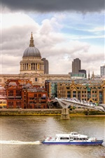 London, Thames, river, bridge, ship, city, buildings