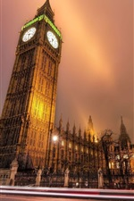 Preview iPhone wallpaper London, city night, road, buildings, Big Ben, lights