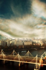 Preview iPhone wallpaper London, river, bridge, city, clouds, HDR style