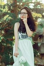 Preview iPhone wallpaper Long hair Asian girl, skirt, glasses, trees, nature