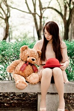Preview iPhone wallpaper Long hair Asian girl, teddy bear, bench