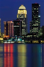 Preview iPhone wallpaper Louisville, USA, skyscrapers, lights, river, city night
