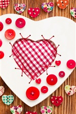 Love hearts, buttons, cloth