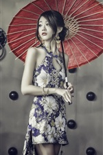 Lovely chinese girl, cheongsam, umbrella