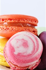 Preview iPhone wallpaper Macaron almond cookies, colorful, dessert