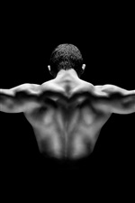 Preview iPhone wallpaper Man muscular show, back view, black background
